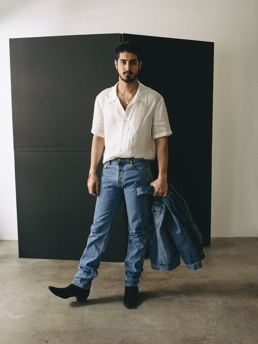 Shirt and denim by   HELMUT LANG    /    Bloomingdales Beverly Center  ; Denim Jacket by   ALEXANDER WANG    /    Bloomingdales Beverly Center