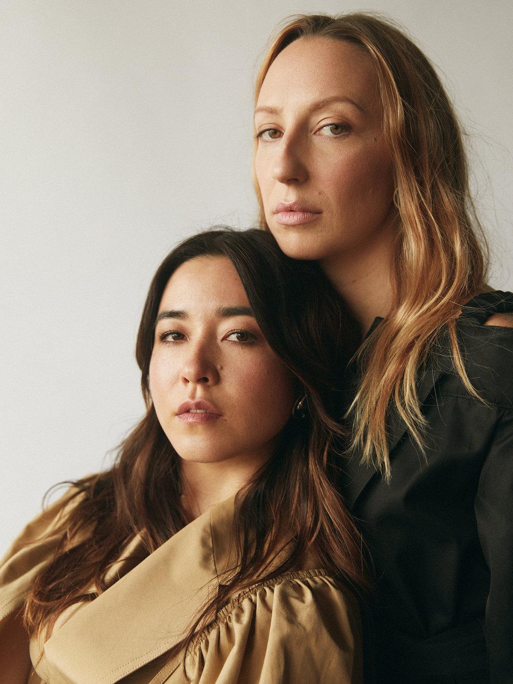 Anna & Maya : Coat by   AKIRA NAKA    /    Barneys New York, Beverly Hills  ; Earrings by   COS