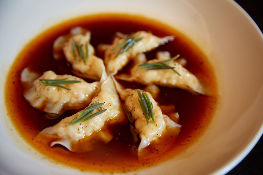 Steamed Spanner Crab Dumplings with Sichuan Chilli Dressing