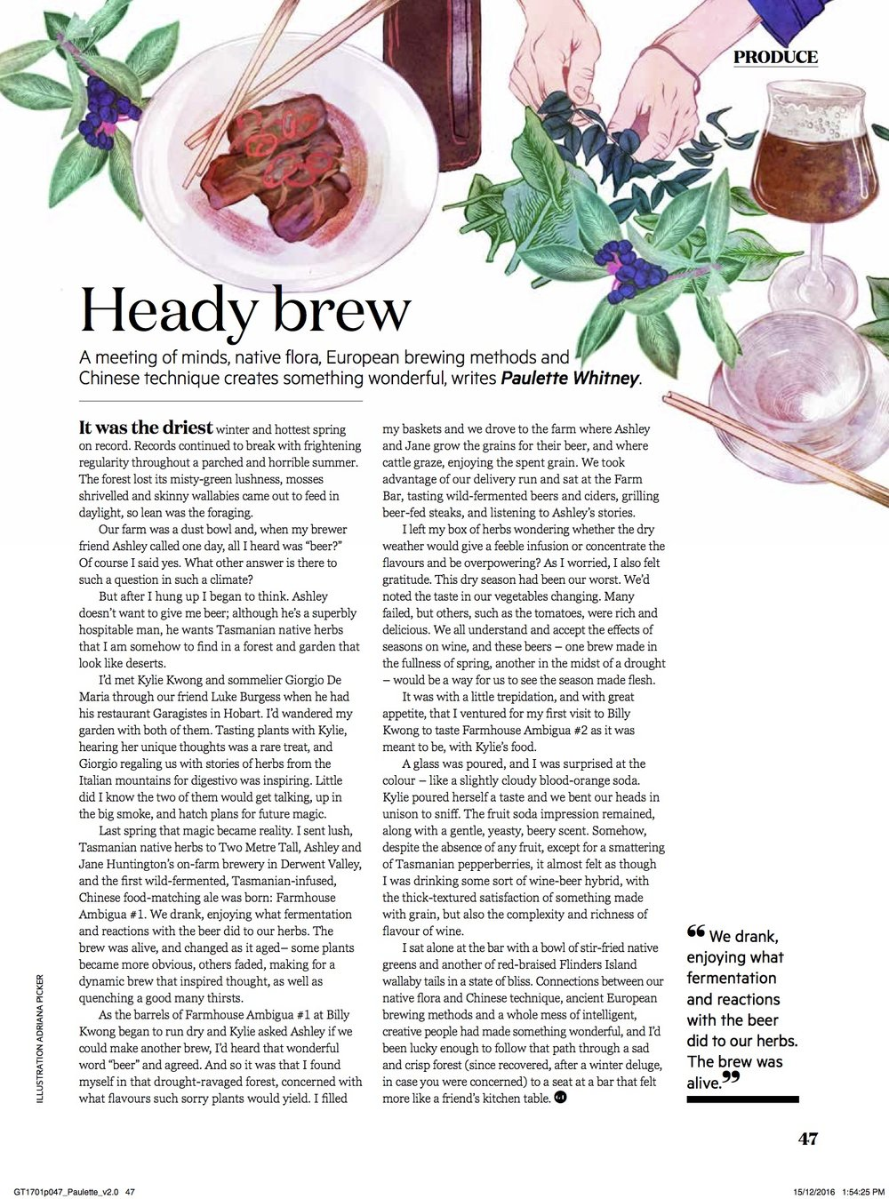 'Heady Brew', Paulette Whitney, Australian Gourmet Traveller, January 2017
