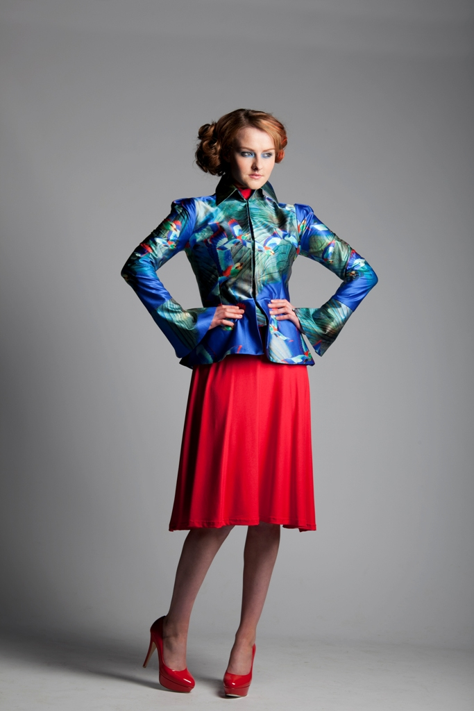 Humming bird High Collar Jacket with Jersey Polo Nk Dress.jpg