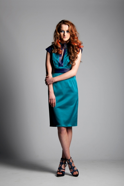 Leather Cap Sleeve V Neck Dress .jpg
