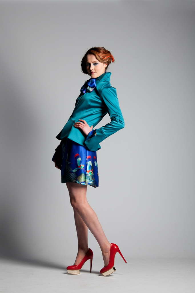 Teal high collar jacket with Silk Humming Bird Dress (1).jpg