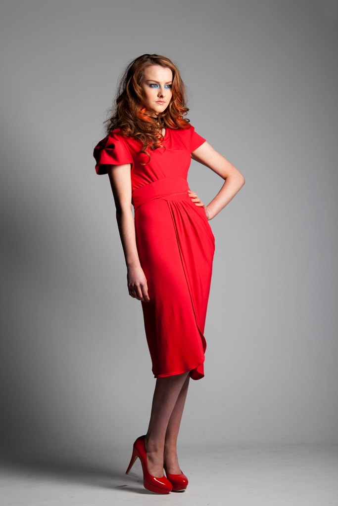 Winsor Red Draped Jersey Dress.jpg