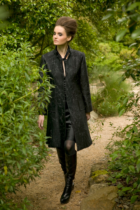 AW09 Brocade Black Coat and Black Silk Tie Neck Dress.jpg