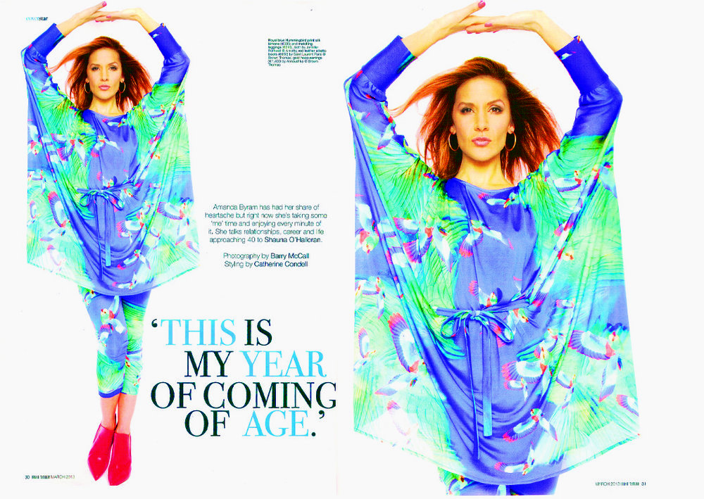 Amanda Byram chose to wear our amazing Hummingbird kimono and the Hummingbird legging for the pictures on an interview with Shauna O'Halloran in Irish Tatler, March 2013.