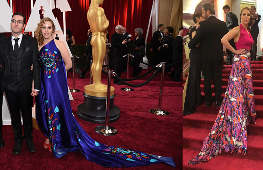 Liselott wore two Jennifer Rothwell's creations at the Oscar while accompanying her husband Tomm Moore: in 2015, she wore the Circular Stainglass Digital printed one shoulder gown, inspired by the vivid colours from the stain glass windows made by Irish Artist Harry Clarke, and in 2018, a Crane Print Maxi Skirt and an assorted fuchsia top, the print being inspired by Dublin's Bloom Festival and Jennifer's love of birds and Japanese influences.
