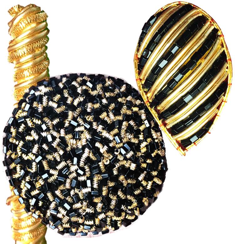 Gold Cordon - thread through the gold spring    Round Motive - Vermicceli with gold spring pieces and black beads    Gold Drop - Gols springs and parallel square black beads, with gold cauching around
