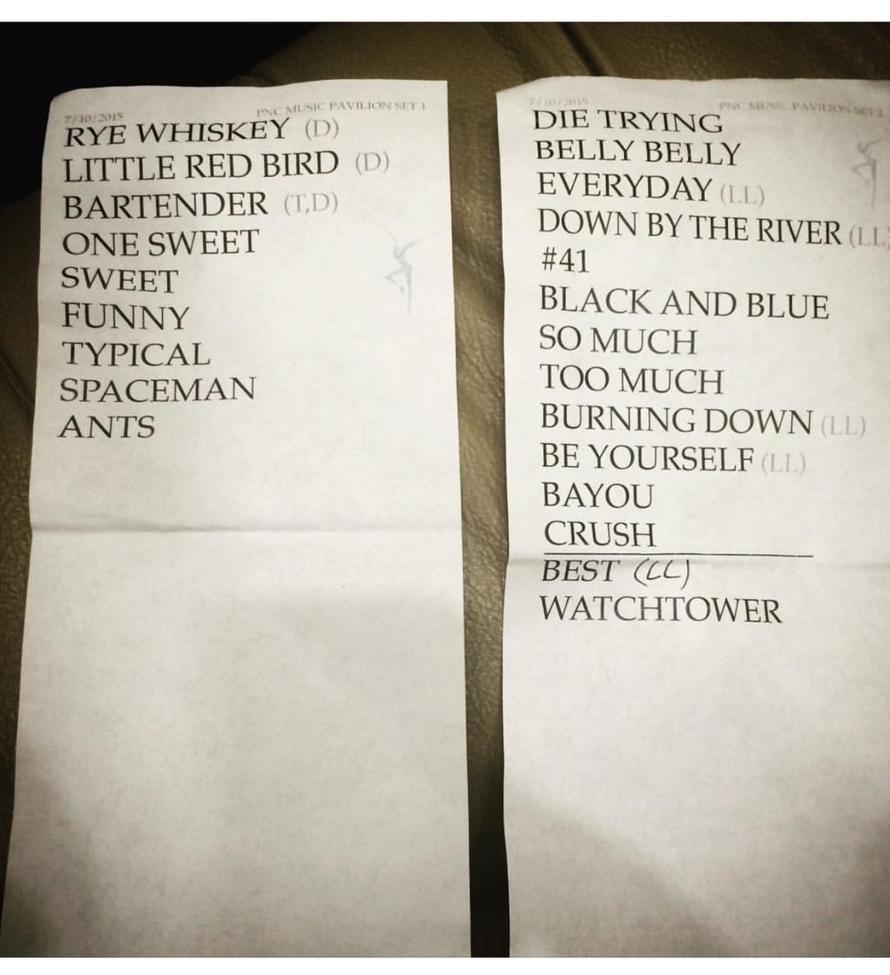 THE SET LIST FOR FRIDAY'S SHOW