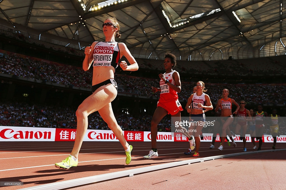 Competing in the 5000m at the World Championships in Beijing, China