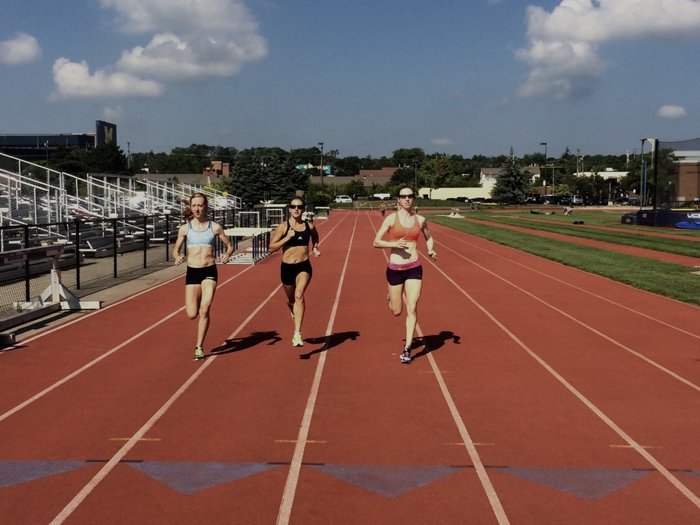 Amanda, Shannon and myself getting some strides in before starting the workout at Ferry Field.