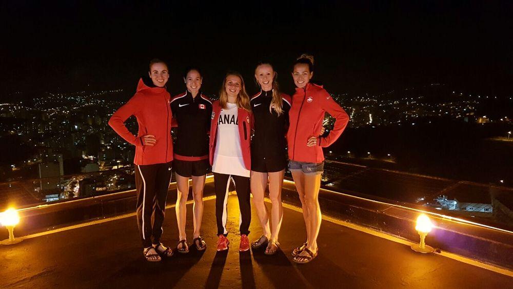 L-R: Me, Noelle Montcalm (400mH), Erin Teschuk (3000mSC), Sage Watson (400mH), Melissa Bishop (800m)