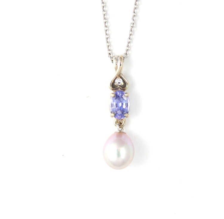 Tanzanite and pink pearl pendant in white gold capones jewelry tanzanite and pink pearl pendant in white gold aloadofball Image collections