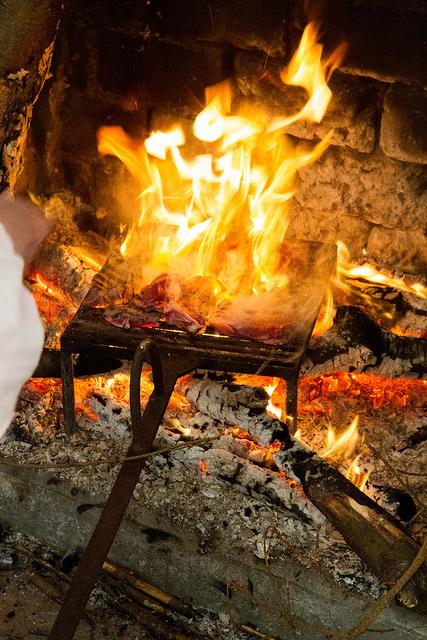 Steaks on the fire