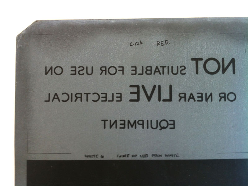 Sign, detail of litho-plate