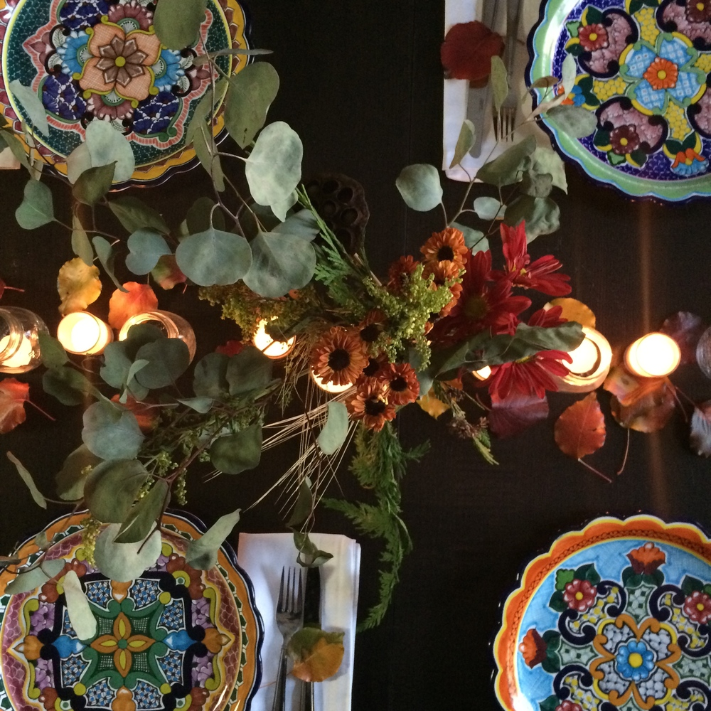 A few pieces of my dad's Talavera collection, perfect for Thanksgiving.