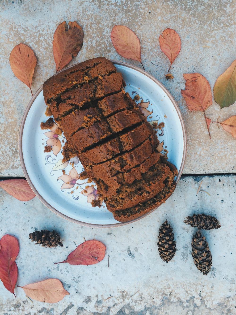 A freshly baked pumpkin loaf.