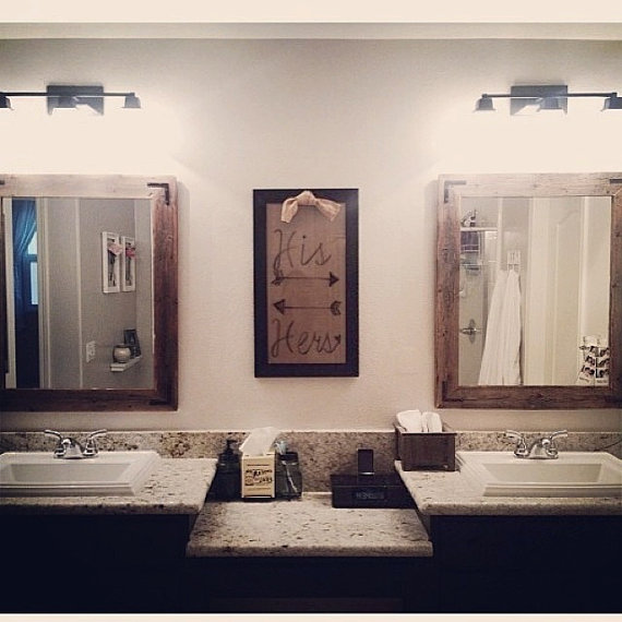 30 x 36 framed mirror handcrafted with reclaimed wood