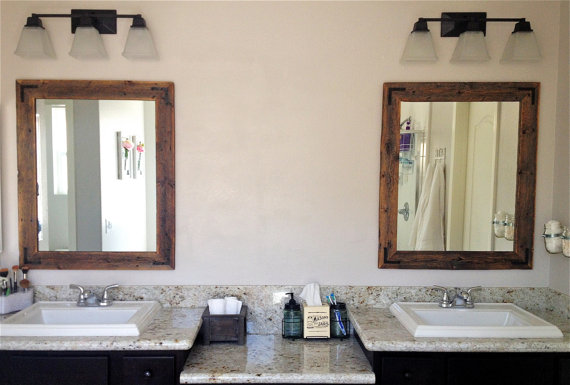 30 X 36 Wood Framed Mirror Pair - Handcrafted With Reclaimed Wood - Reclaimed Wood Mirror WB Designs
