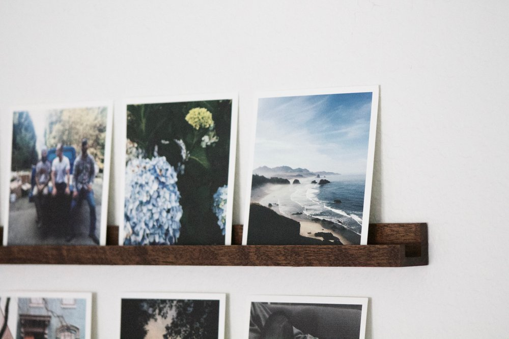 Our hardwood photo rails are a fun way to display your favorite photos, and easy to update! Once your photos are organized you can change up your photo rails more easily. Fill the rails with photos of your little one on their birthday, then switch out the photos for Father's Day, etc.