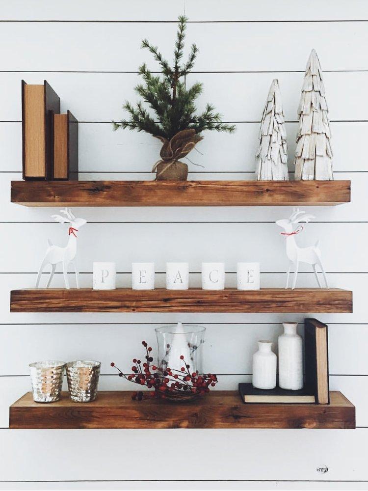 Beau Reclaimed Wood Floating Shelf   Shipping Included