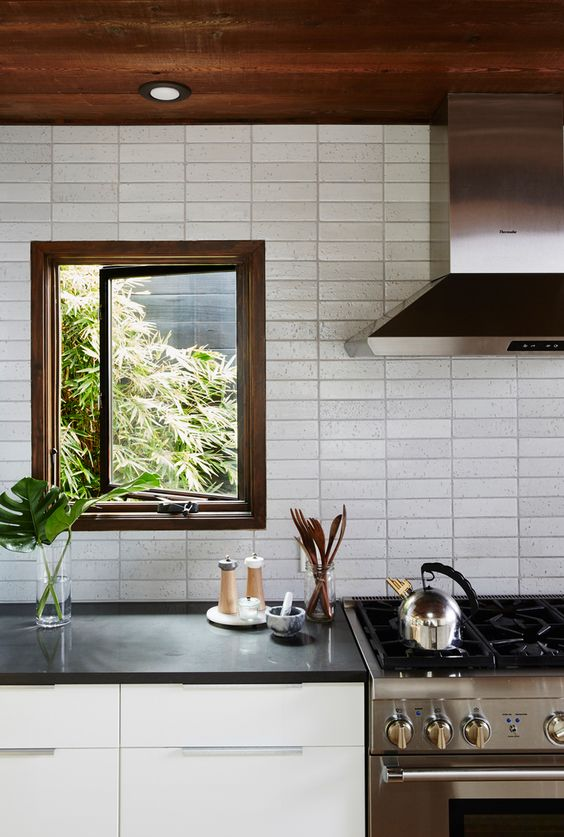 Unique Backsplash Ideas Part - 44: This Is Similar To Subway Tile, But The Texture Is More Rustic, And The  Arrangement, Unique. Itu0027s Similar To Minesweeper (remember That Game?)