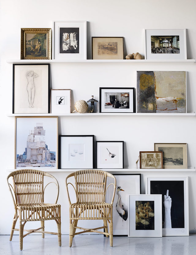 Picture shelves make it easier to arrange and rearrange your gallery wall.