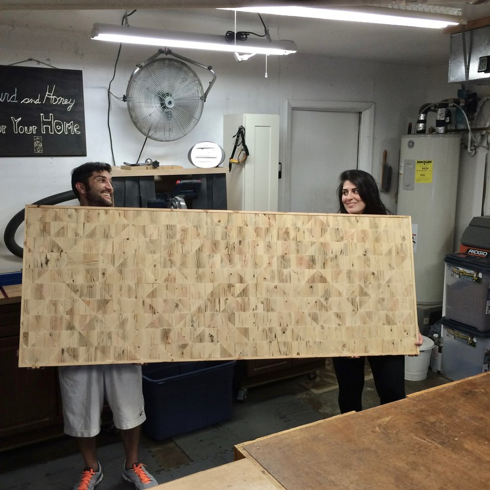 March, 2015 - Working on our headboard.