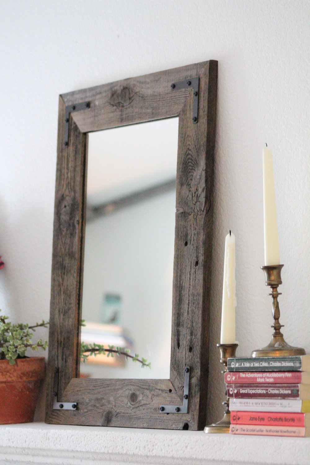 extra large reclaimed wooden rustic farmhouse wall mirror en