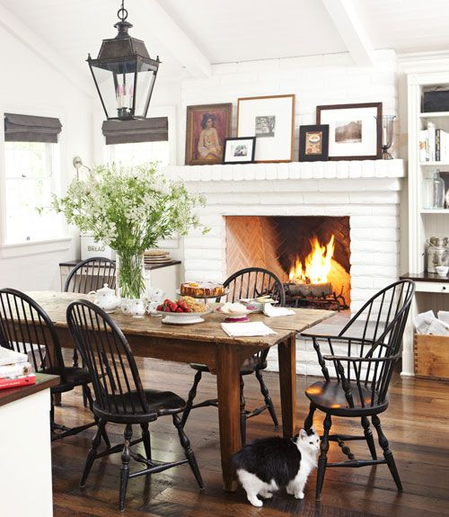 Create A Dining Space In Traditional Living Room Fireplace Sounds Lovely