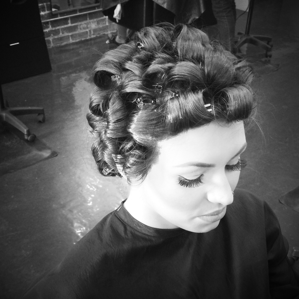 This set was done with 1/2 inch curling iron for tighter curls.
