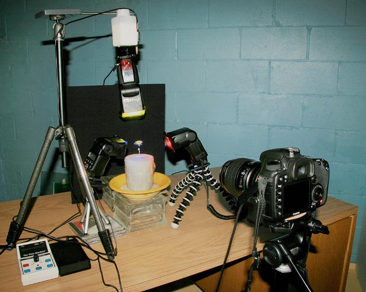 Установка 3 - зйомка крапель молока