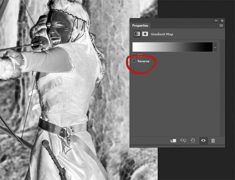 Якщо ваше зображення виглядає як негатив, це просто означає, що ваші фону і переднього плану кольору в зворотному напрямку. Просто натисніть кнопку реверсу вікно на вкладці властивостей Gradient Map.