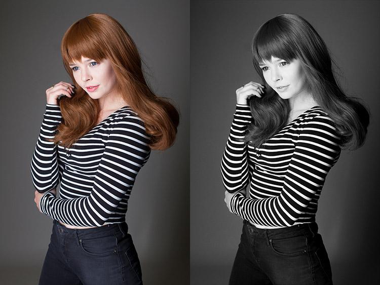 Зліва: вихідне фото  Справа: фото, перетворене в чорно-біле за допомогоюAdobe Camera Raw