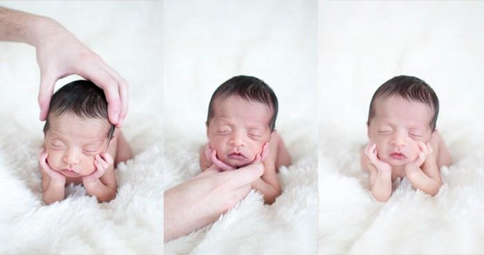 На фото ліворучя тримаюголову дитинки для безпеки, на середньому фото також. Ці два фото об'єднані в третьому (справа), щоби склалосявраження, що голівка немовлятка на його ручках