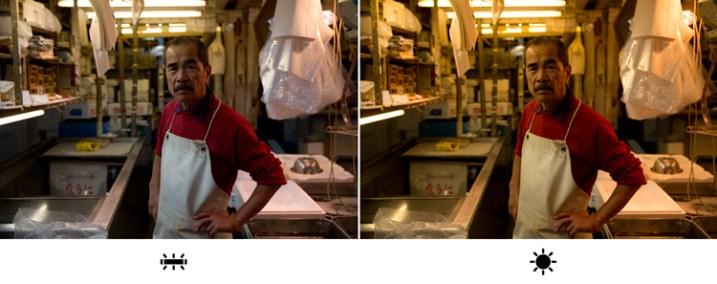 """Це фото зроблене на рибному ринку в Токіопід білим світлом флуоресцентних ламп. Длязображеннязліва я встановив баланс білого на """"Люмінесцентне світло"""", що відповідало світловій ситуації.Але для фотосправая вибрав """"неправильний""""баланс білого - """"Денне світло"""". Це зробило знімок набагато теплішим. Який з них кращийна вашу думку?"""
