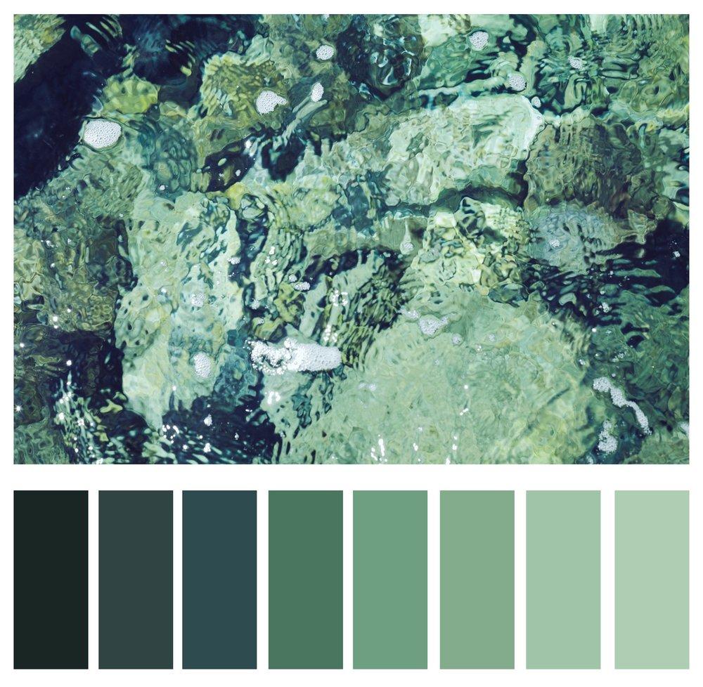 5а. Відтінки зеленого.