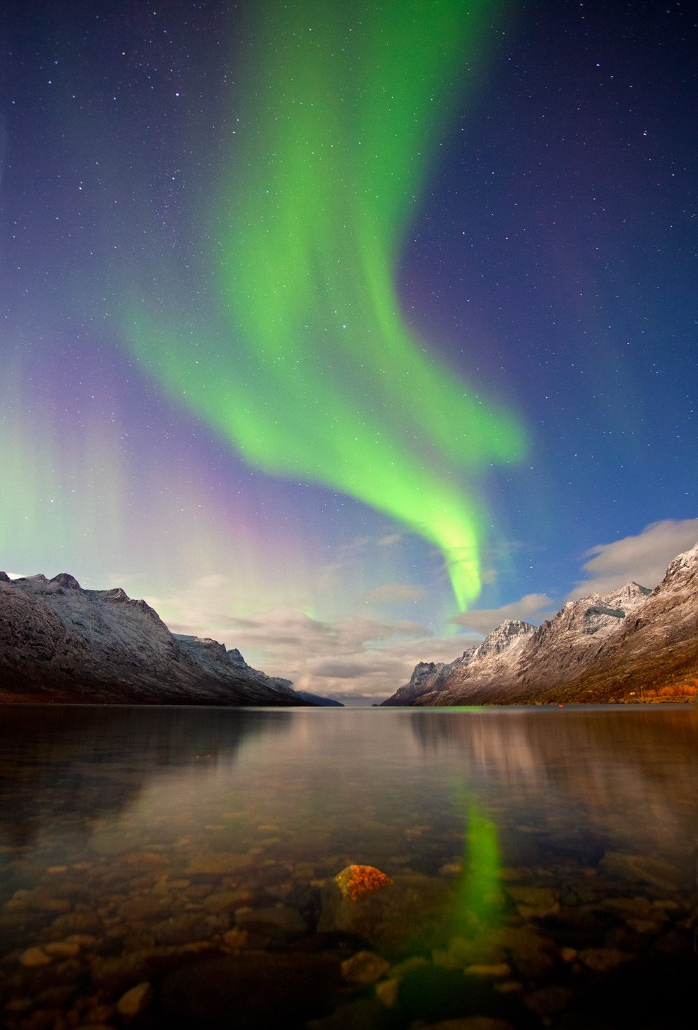Northern Lights (Aurora Borealis) over Ersfjordbotn, Tromso, Nor