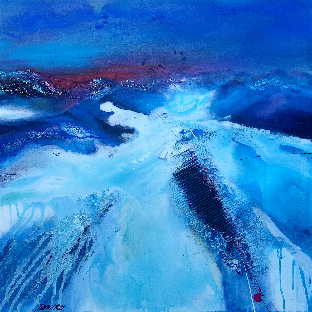 WINTER by tamiko braun (80x80cm) mixed media on canvas    There's nothing finer than enjoying Aprè-Ski as the sun sets and the night lights glisten on the frosty crisp snow.  Oh how I long to hear the sound of silence in the cold evening air...  Come join me and let me take you there...