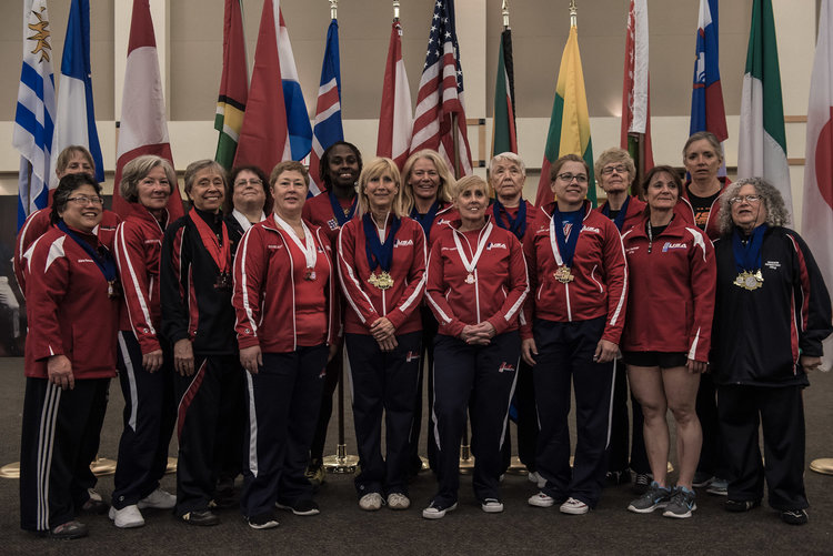 Members of USA Powerlifting's women's masters team at the IPF 2016 Classic World Championships in Killeen, TX.
