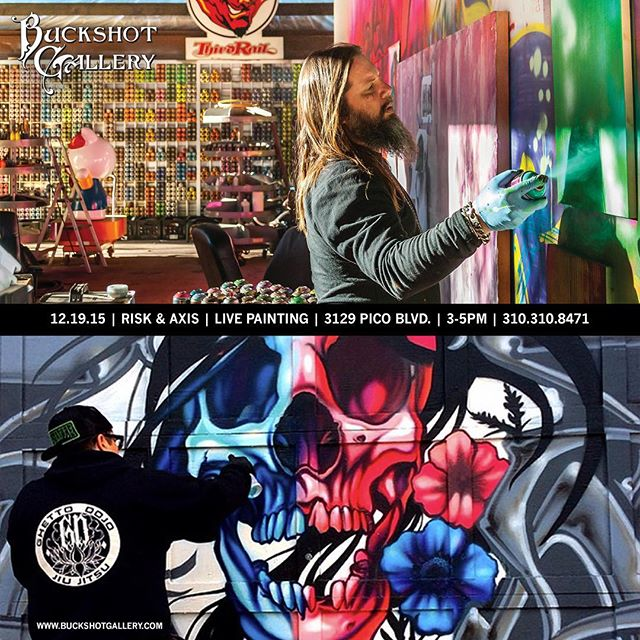 Live #painting tomorrow at the gallery with @riskrock and @axisvalhalla #santamonica #gallery @buckshotgallery