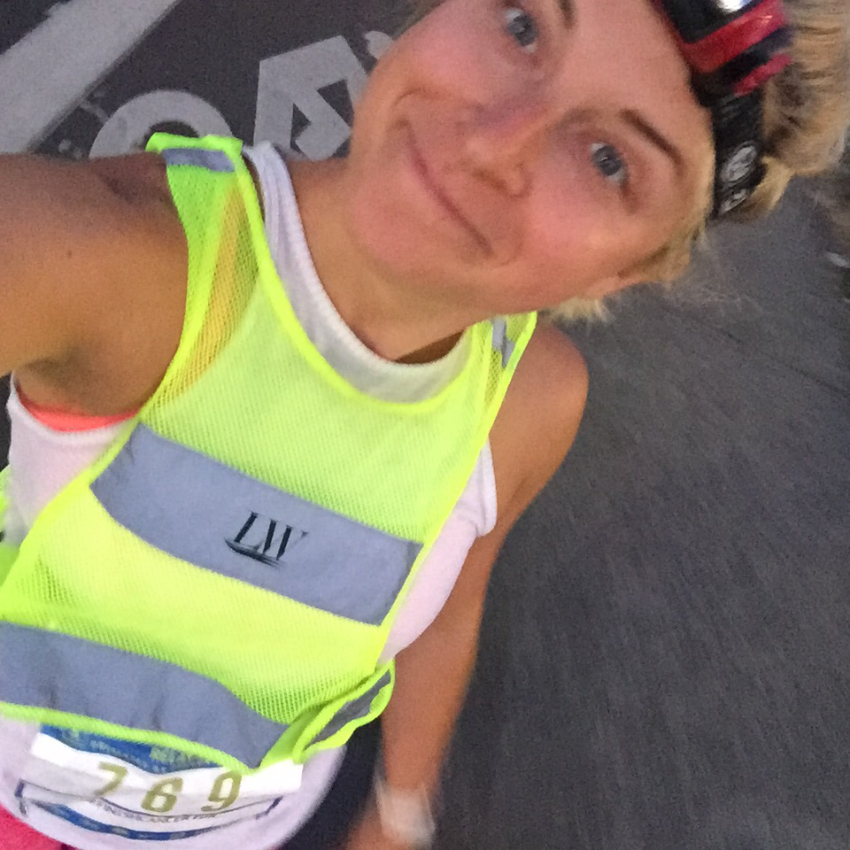 Leg #1 ready to rock - headlamp, reflective vest and all!