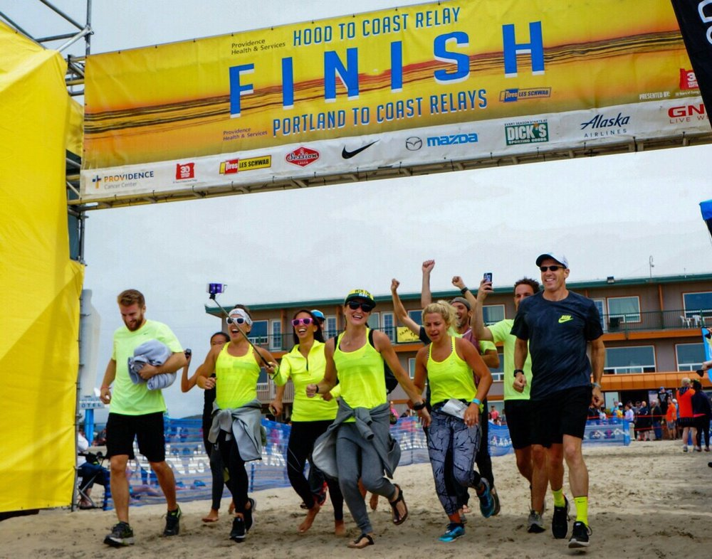 The whole team met me to cross the finish line together!