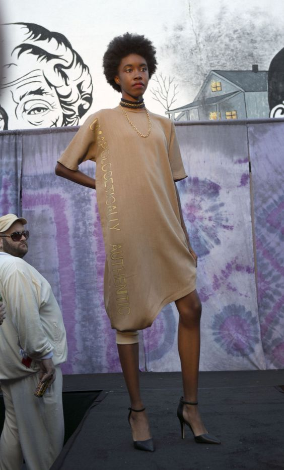 Model posing with dress from Street Chic collection