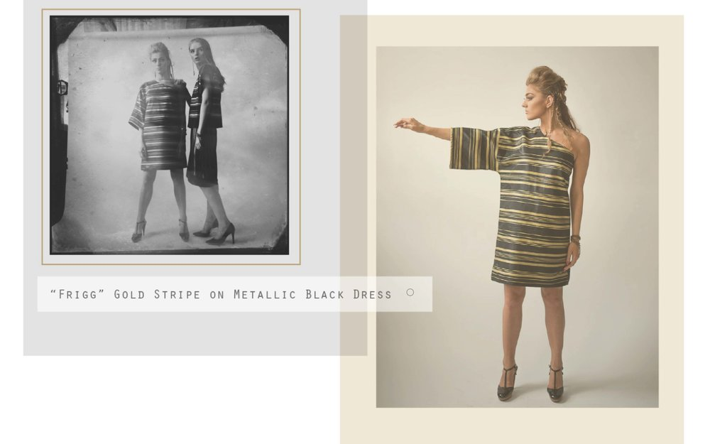 The Norse Collection's Frigg gold strip on metallic black dress