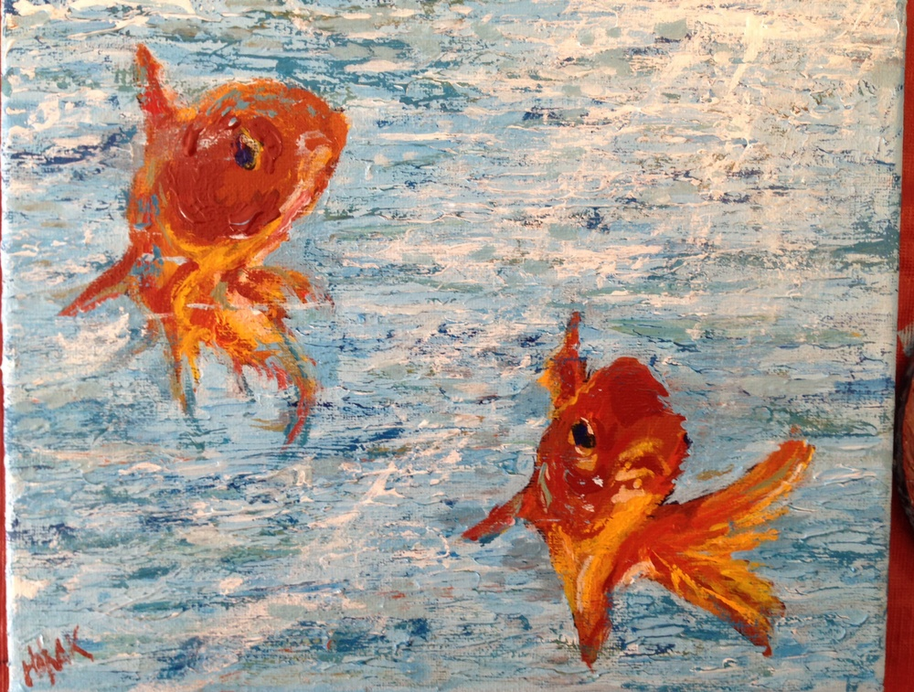 Goldfish.  Acrylic on Canvass.  Sold.