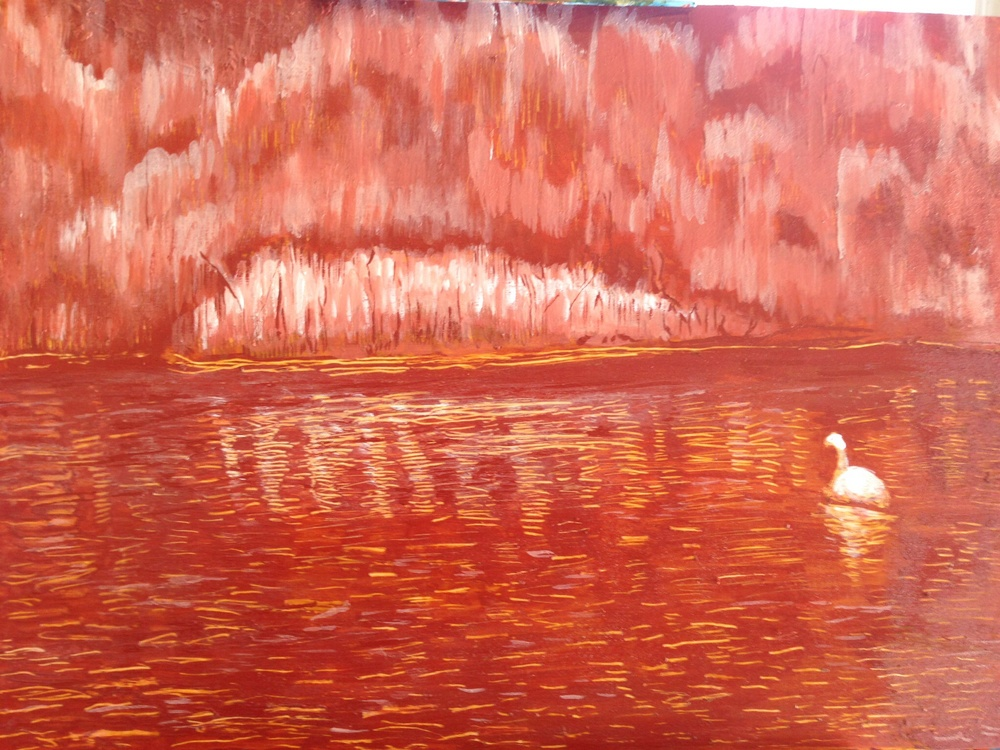 Swan at High Park. Acrylic on Wood Panel.  Sold