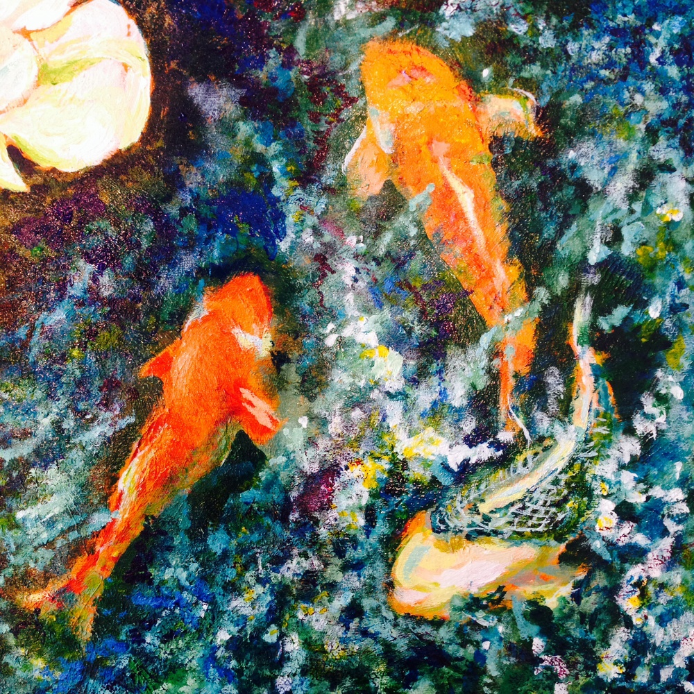 Koi Pond.  Acrylic on Wood Panel.  Sold
