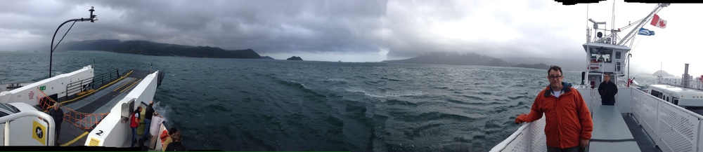 A Panorama shot of the Ferry ride across to Skidegate.  Ryan holds 'er steady.