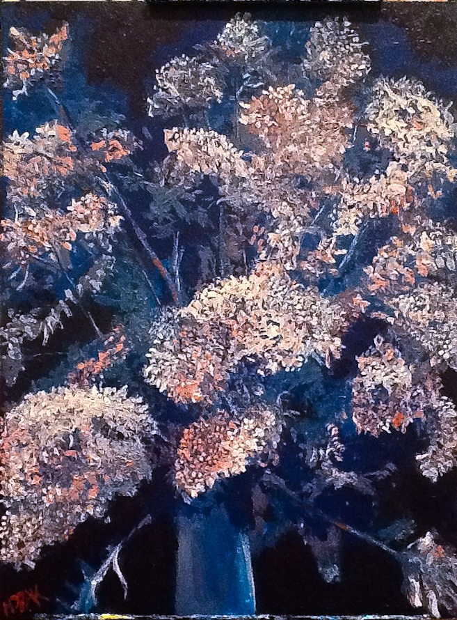 "Lilacs.  Acrylic on Wood Panel.  12""x16"".  $300"